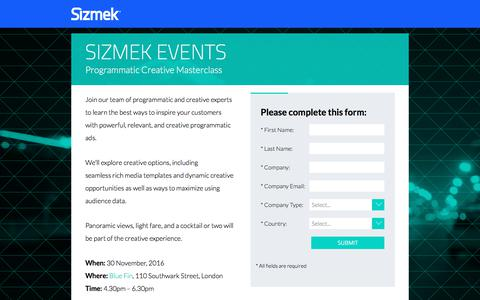 Screenshot of Landing Page sizmek.com - Sizmek Programmatic Creative Masterclass - captured March 3, 2018