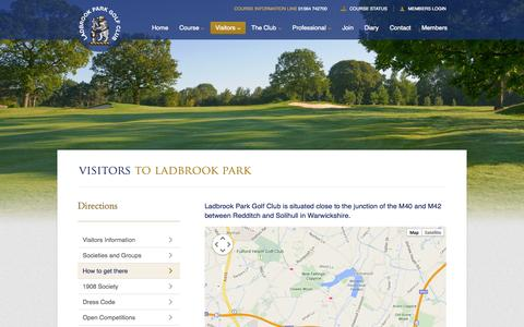 Screenshot of Maps & Directions Page ladbrookparkgolf.co.uk - Ladbrook Park Golf Club - captured Oct. 1, 2014