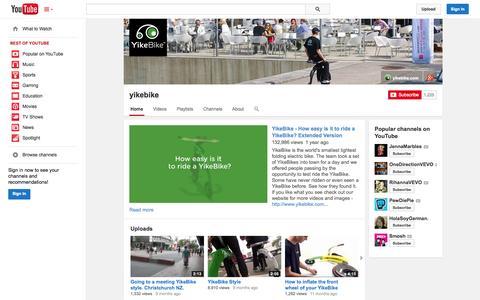 Screenshot of YouTube Page youtube.com - yikebike  - YouTube - captured Oct. 27, 2014