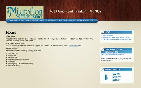 Screenshot of Hours Page milcrofton.com - Hours « Milcrofton Utility District - captured Oct. 27, 2014