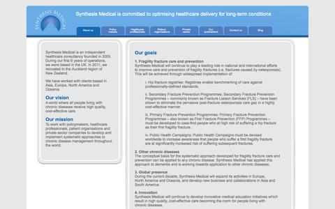 Screenshot of About Page synthesismedical.com - Synthesis Medical - Pharmaceutical manufacturers - captured Nov. 4, 2014