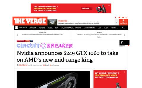 Screenshot of theverge.com - Nvidia announces $249 GTX 1060 to take on AMD's new mid-range king | The Verge - captured July 9, 2016