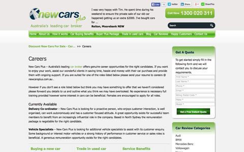 Screenshot of Jobs Page newcarsplus.com.au - New Used Vehicle Specialist Job Openings Career - captured Oct. 27, 2014