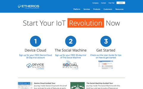 Screenshot of Developers Page etherios.com - Start Your IoT Revolution Now - captured Sept. 16, 2014