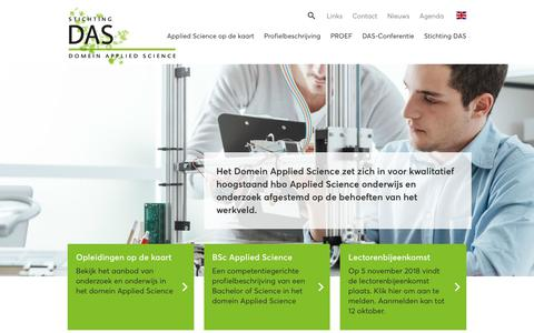 Screenshot of Home Page appliedscience.nl - Home — Domein Applied Science - captured Oct. 9, 2018