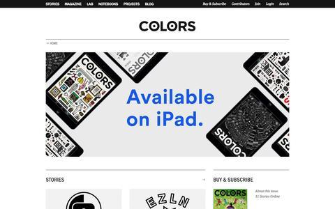 Screenshot of Home Page colorsmagazine.com - COLORS Magazine - captured Sept. 19, 2014