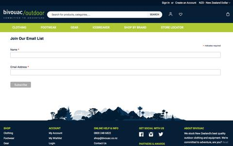 Screenshot of Signup Page bivouac.co.nz - Sign Up For Bivouac News, Sales And Deals - captured July 16, 2019