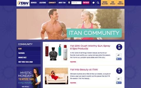 Screenshot of Blog itan.com - Community | iTAN Sun Spray Spa - captured Oct. 6, 2014