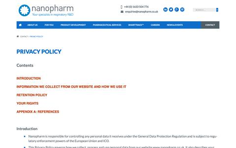 Screenshot of Privacy Page nanopharm.co.uk - Privacy Policy | Nanopharm Ltd - captured Dec. 20, 2018