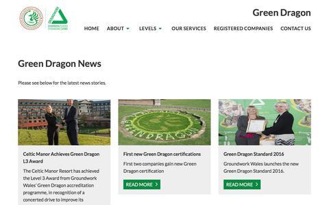 Screenshot of Press Page groundwork.org.uk - Groundwork   News   Green Dragon News - captured Feb. 16, 2018