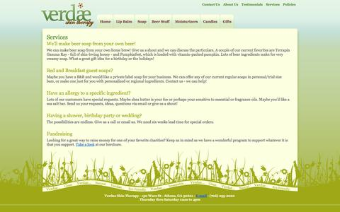 Screenshot of Services Page verdaeskintherapy.com - Verdae Skin Therapy - Services - captured Oct. 26, 2014