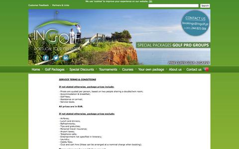 Screenshot of Terms Page ingolf.pt - Terms and Conditions | InGolf - Golf in Portugal :: Portugal Golf Packages - captured Oct. 6, 2014