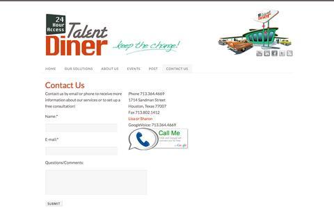 Screenshot of Blog talentdiner.com - CONTACT US | Talent Diner - 24 Hour Access - captured Oct. 27, 2014
