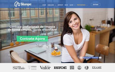 Screenshot of Home Page blumpa.com - Contrate diaristas, faxineiras e profissionais de limpeza no Blumpa - captured Nov. 10, 2015