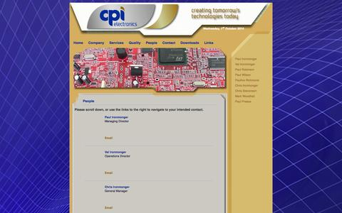 Screenshot of Team Page cpielectronics.com - CPI Electronics Ltd | People - captured Oct. 1, 2014