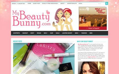 Screenshot of Home Page mybeautybunny.com - Home | My Beauty Bunny - captured Jan. 11, 2016