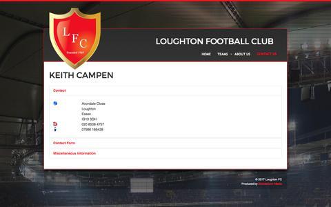 Screenshot of Contact Page loughtonfc.com - Contact Us - captured April 6, 2017