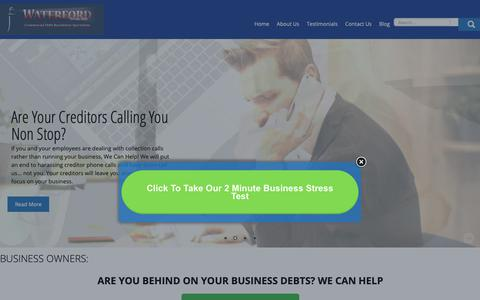 Screenshot of Home Page waterfordnow.com - BUSINESS OWNERS: - The Waterford Group USA - captured Oct. 18, 2018
