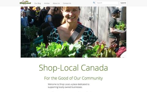 Screenshot of Home Page shop-local.ca - Shop-Local Canada: Learn more about Shopping Locally - No chains stores allowed! - captured Oct. 12, 2017