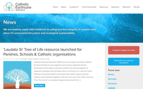 Screenshot of Press Page catholicearthcare.org.au - Catholic Earthcare Australia Catholic Earthcare Initatives - captured July 11, 2016