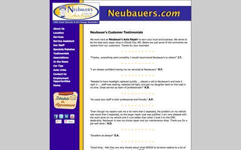 Screenshot of Testimonials Page neubauers.com - Neubauer's Auto Repair Customer Reviews | Auto Repair Howard County Maryland - captured Oct. 26, 2014