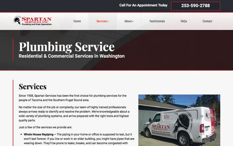 Screenshot of Services Page spartanrooter.com - Plumbing Services Tacoma - We Can Handle Any Project | Spartan Services - captured Sept. 24, 2018