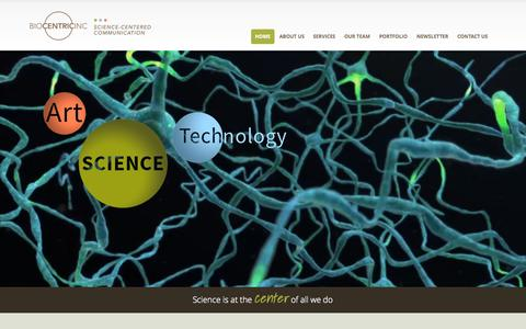 Screenshot of Home Page biocentricinc.com - BioCentric, Inc. | A Medical Communications Company - captured Sept. 11, 2015