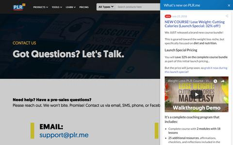 Screenshot of Contact Page plr.me - Contact PLR.me - captured Sept. 25, 2018