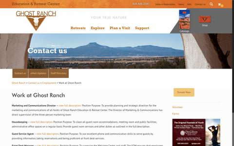 Screenshot of Jobs Page ghostranch.org - Work at Ghost Ranch - Ghost Ranch - captured Aug. 2, 2017