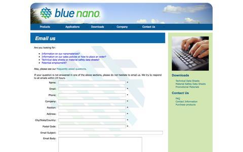 Screenshot of Contact Page bluenanoinc.com - Blue Nano   Email Us - captured Oct. 5, 2014