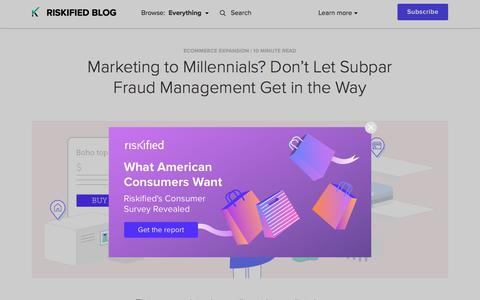 Screenshot of Team Page riskified.com - Marketing to Millennials? Don't Forget Fraud Management | Riskified Blog - captured Feb. 20, 2020