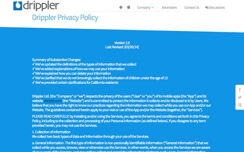 Screenshot of Privacy Page drippler.com - Privacy Policy | Drippler - captured Oct. 1, 2015