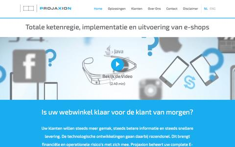 Screenshot of Home Page Menu Page projaxion.nl - Home - captured Sept. 26, 2014