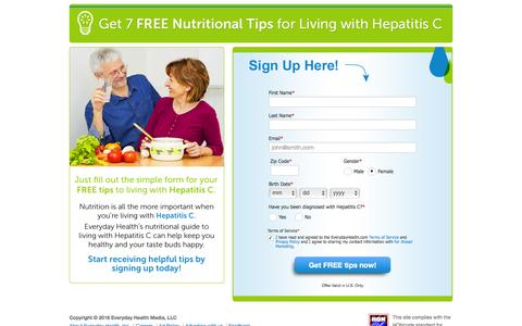 Screenshot of Landing Page everydayhealth.com - Everyday Health | Register for your free nutrition tips - captured June 24, 2016