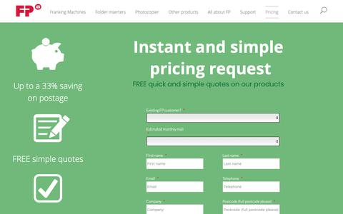 Screenshot of Pricing Page fpmailing.co.uk - What is a franking machine? FP Mailing franking machine information - Free quotes - captured Nov. 20, 2018