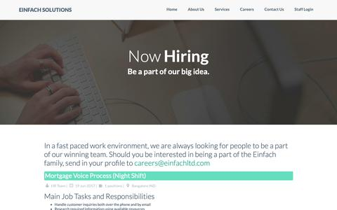 Screenshot of Jobs Page einfachltd.com - Einfach Solutions | Careers - captured Sept. 27, 2018