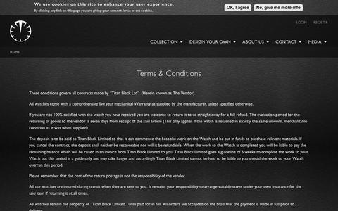 Screenshot of Terms Page titanblack.co.uk - Terms & Conditions | Titan Black - captured Nov. 7, 2018