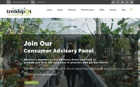 Screenshot of Signup Page trendspotinc.com - Consumer Advisory Panel - Trendspot Inc. - captured Sept. 28, 2018