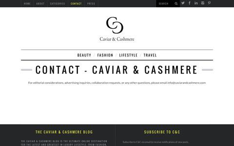 Screenshot of Blog Contact Page caviarandcashmere.com - Contact - Caviar & Cashmere - captured Jan. 26, 2016