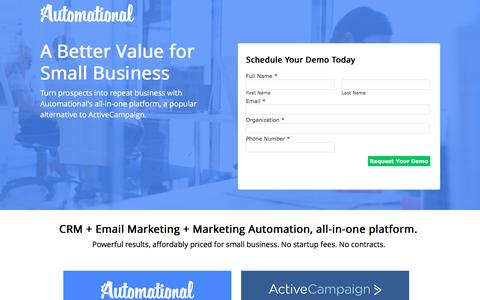 Screenshot of Landing Page automational.com - Automational vs ActiveCampaign| Automational CRM & Marketing Automation - captured Oct. 2, 2016