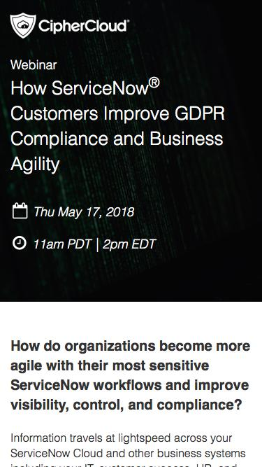 12 Actionable Steps to Improve GDPR Compliance in Your ServiceNow® Cloud | CipherCloud | CASB | Cloud Security