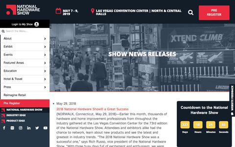 Screenshot of Press Page nationalhardwareshow.com - Show News Releases - NationalHardwareShow - captured Sept. 21, 2018
