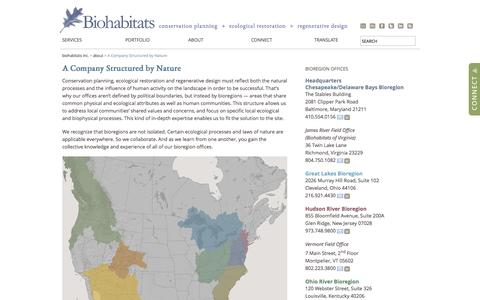 Screenshot of Contact Page Locations Page biohabitats.com - A Company Structured by Nature » Biohabitats Inc. - captured Oct. 22, 2014