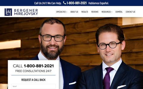 Screenshot of Home Page bergenerlaw.com - California Personal Injury Attorneys | Bergener Mirejovsky - captured Oct. 10, 2017