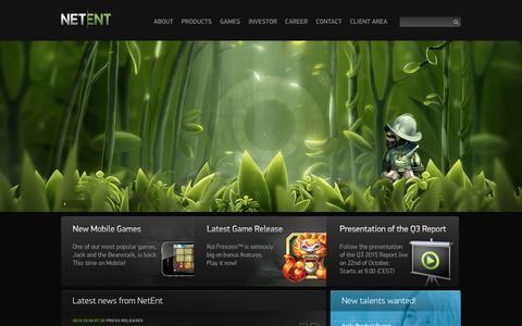 Screenshot of Home Page netent.com - NetEnt   Better Gaming - captured Dec. 9, 2015