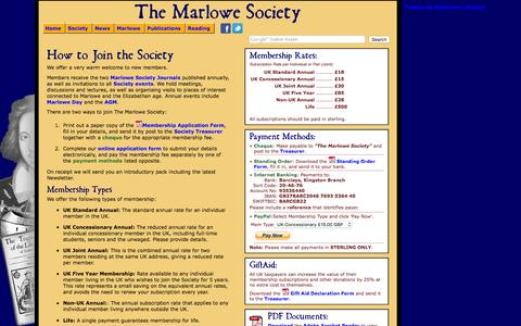 Screenshot of Signup Page marlowe-society.org - Join The Marlowe Society - captured March 10, 2016