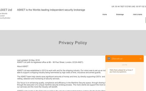 Screenshot of Privacy Page asket.co.uk - ASKET Privacy Policy - captured Oct. 2, 2018
