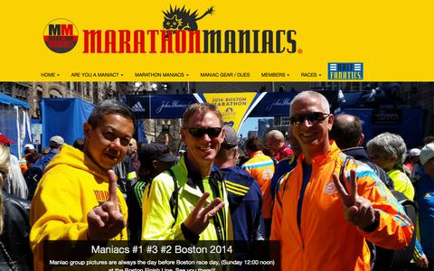 Screenshot of Home Page marathonmaniacs.com - Home - Marathon Maniacs - captured Oct. 12, 2015