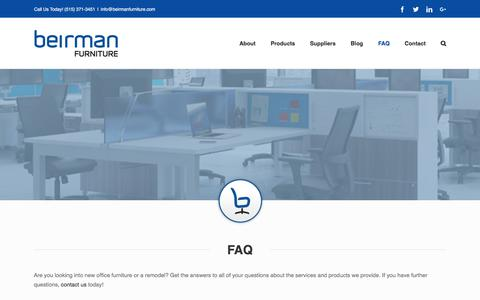 Screenshot of FAQ Page beirmanfurniture.com - Frequently Asked Questions   Beirman Furniture   Des Moines, Iowa - captured Aug. 1, 2018