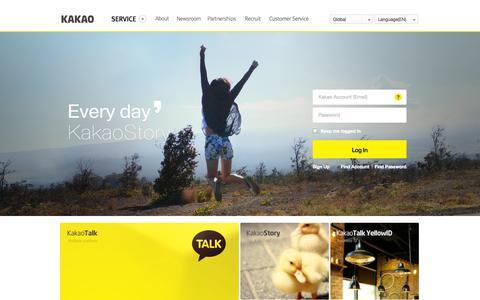 Screenshot of Home Page Login Page kakao.com - KakaoTalk - Mobile Messenger Over 100 Million People Have Chosen - captured Sept. 16, 2014